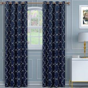 Izquierdo Geometric Blackout Thermal Grommet Curtain Panels (Set of 2)