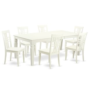 Beesley 7 Piece Linen White Wood Dining Set