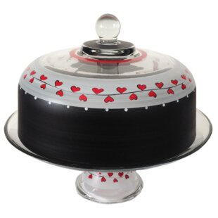 heart vine cake dome with pedestal - Glass Cake Dome