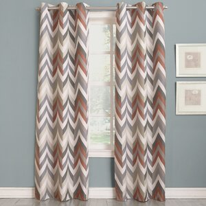 Camille Chevron Print Room Darkening Grommet Single Curtain Panel
