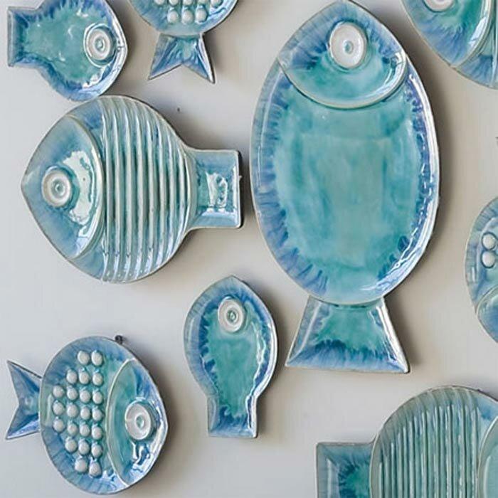 Ceramic Blue Fish Plate Wall Décor