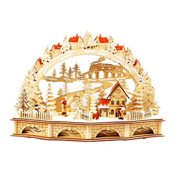 jeco inc laser cut christmas village with lights wayfair