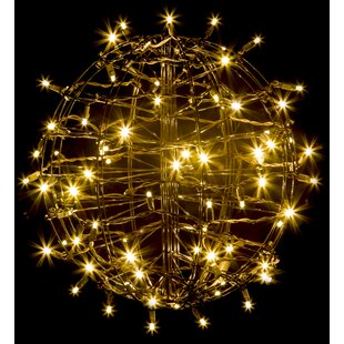 Outdoor tree sphere lights wayfair grapevine fold flat sphere light with 75 led lights by the holiday aisle aloadofball Images