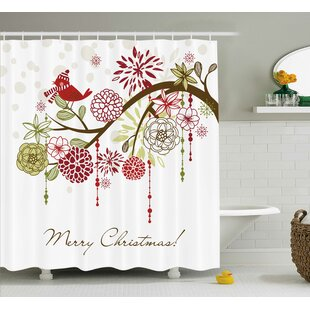 Christmas Red Bird Floral Tree Shower Curtain
