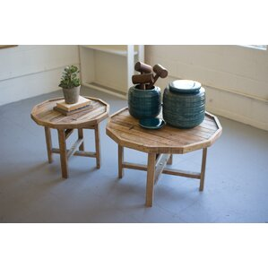 Bryson Round Recycled Wooden 2 Piece Nesting Tables by Rosecliff Heights