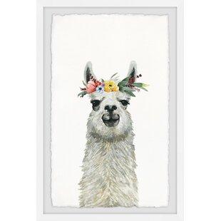 Isaias Flower Crowned Llama Framed Art by Viv   Rae