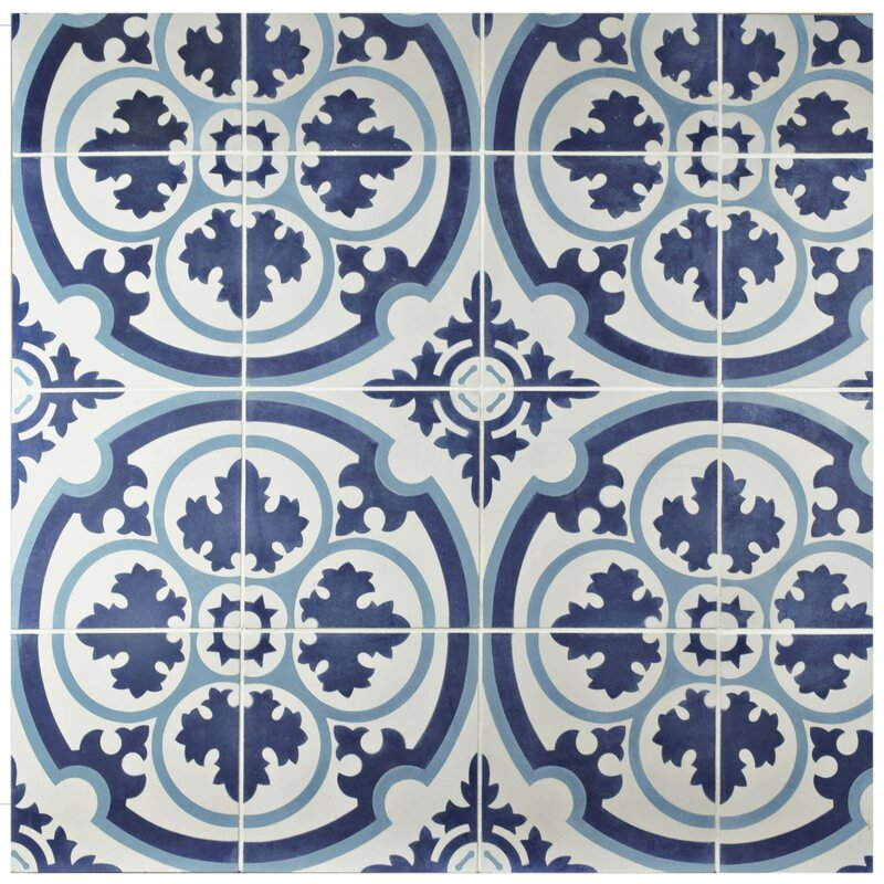 Ciment x cement field tile in blue white for Blue and white cement tile