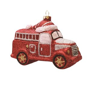 dad9f8daac51 Merry and Bright Glitter Shatterproof Fire Truck Christmas Ornament. By The  Holiday Aisle