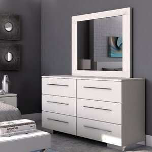 Brendan 6 Drawer Double Dresser with Mirror by Wade Logan