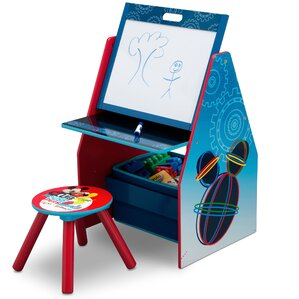 Disney Mickey Mouse Activity Center Easel Art Desk with Stool and Toy Organizer by Delta Children