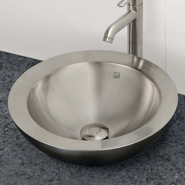 Decolav simin simply stainless double walled metal - Stainless steel vessel sinks bathroom ...