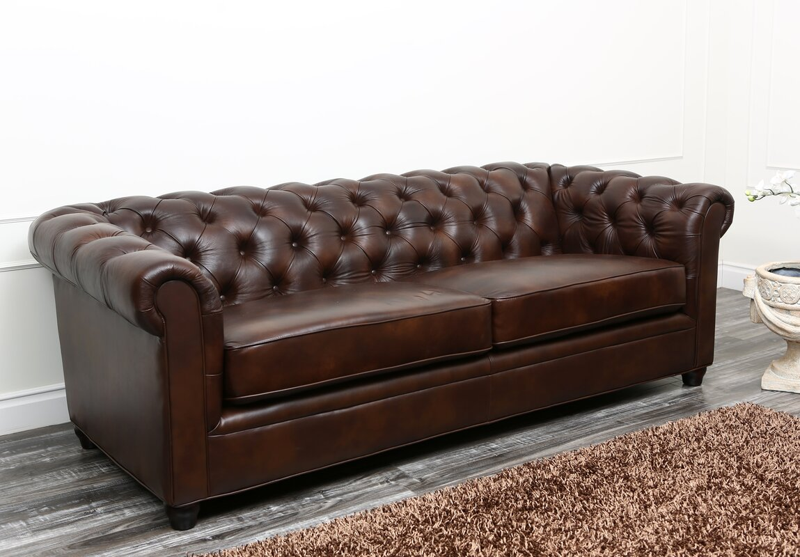 Charlton Home Molly Leather Chesterfield Sofa & Reviews   Wayfair