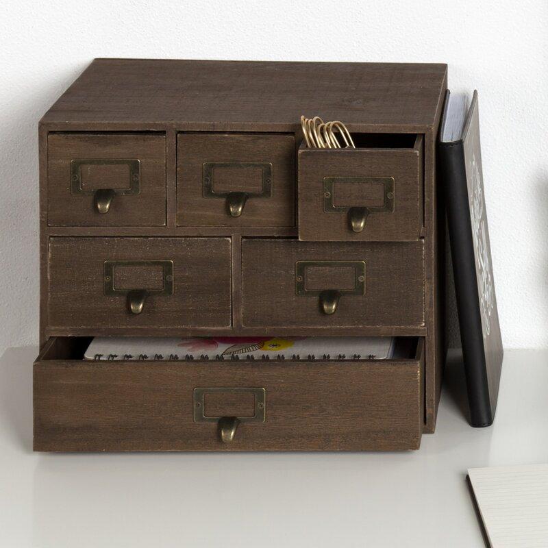 Kristian Apothecary Wood  Drawer Desktop Organizer