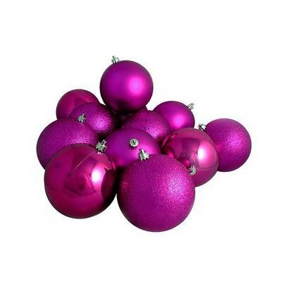 Magenta Shatterproof Christmas Ball Ornaments - Charlton Home Magenta Shatterproof Christmas Ball Ornaments