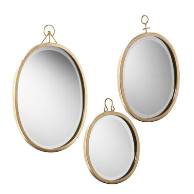 Brayden Studio 3 Piece Oval Metal Frame Mirror Set
