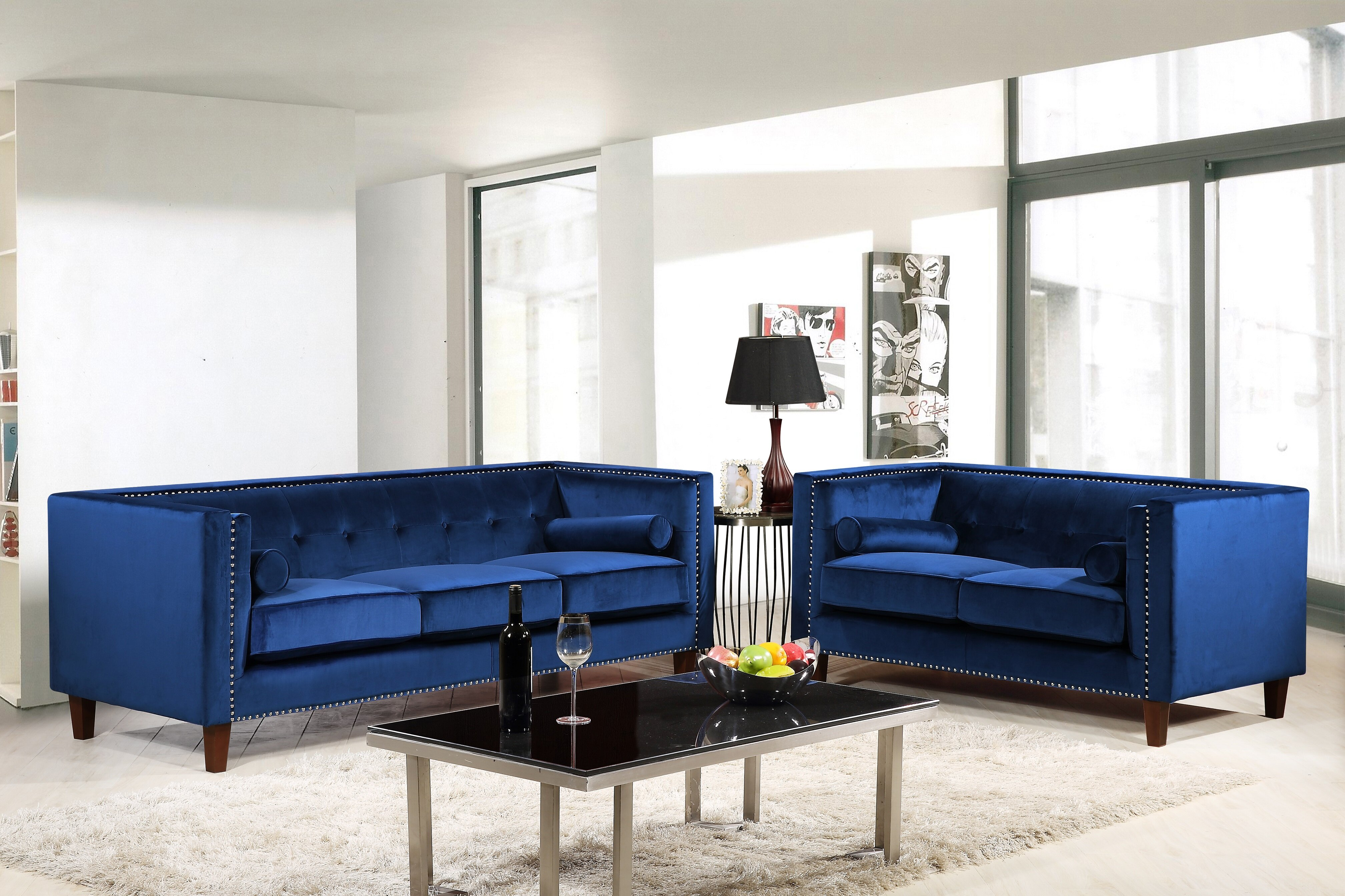 Everly quinn kittleson classic nailhead chesterfield 2 piece living room set wayfair