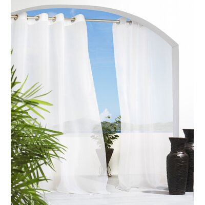 Save To Idea Board. Ivory Odessa Solid Semi Sheer Outdoor Grommet Single  Curtain Panel
