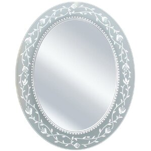 oval etched border mirror - Mirrored Bathroom Vanity