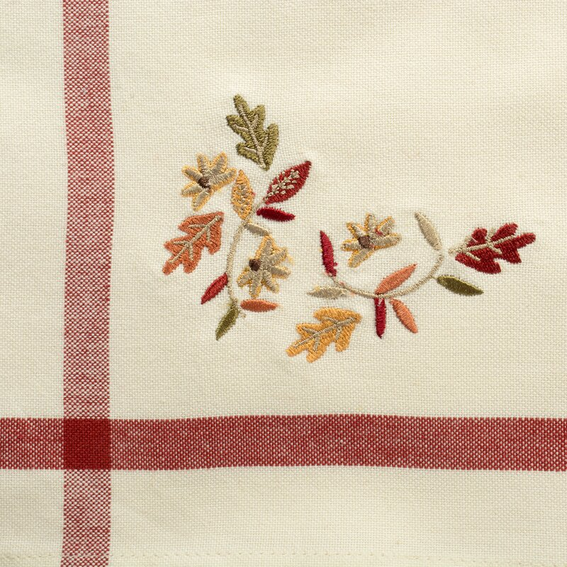 Murrin Natural Embroidered Leaves 20