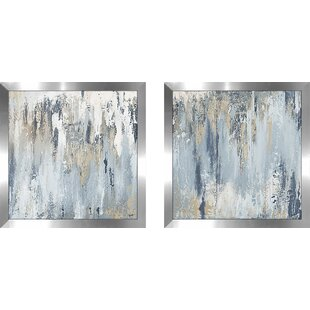 f7b21dfc4b5  Blue Illusion Square I  2 Piece Framed Acrylic Painting Print Set