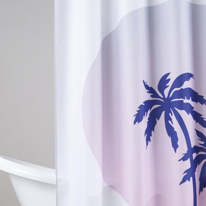 Brayden Studio Ashlee Rae Palm Tree Circle Shower Curtain | Wayfair