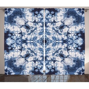 Keri Tie Dye Graphic Print And Text Semi Sheer Rod Pocket Curtain Panels  (Set Of 2)