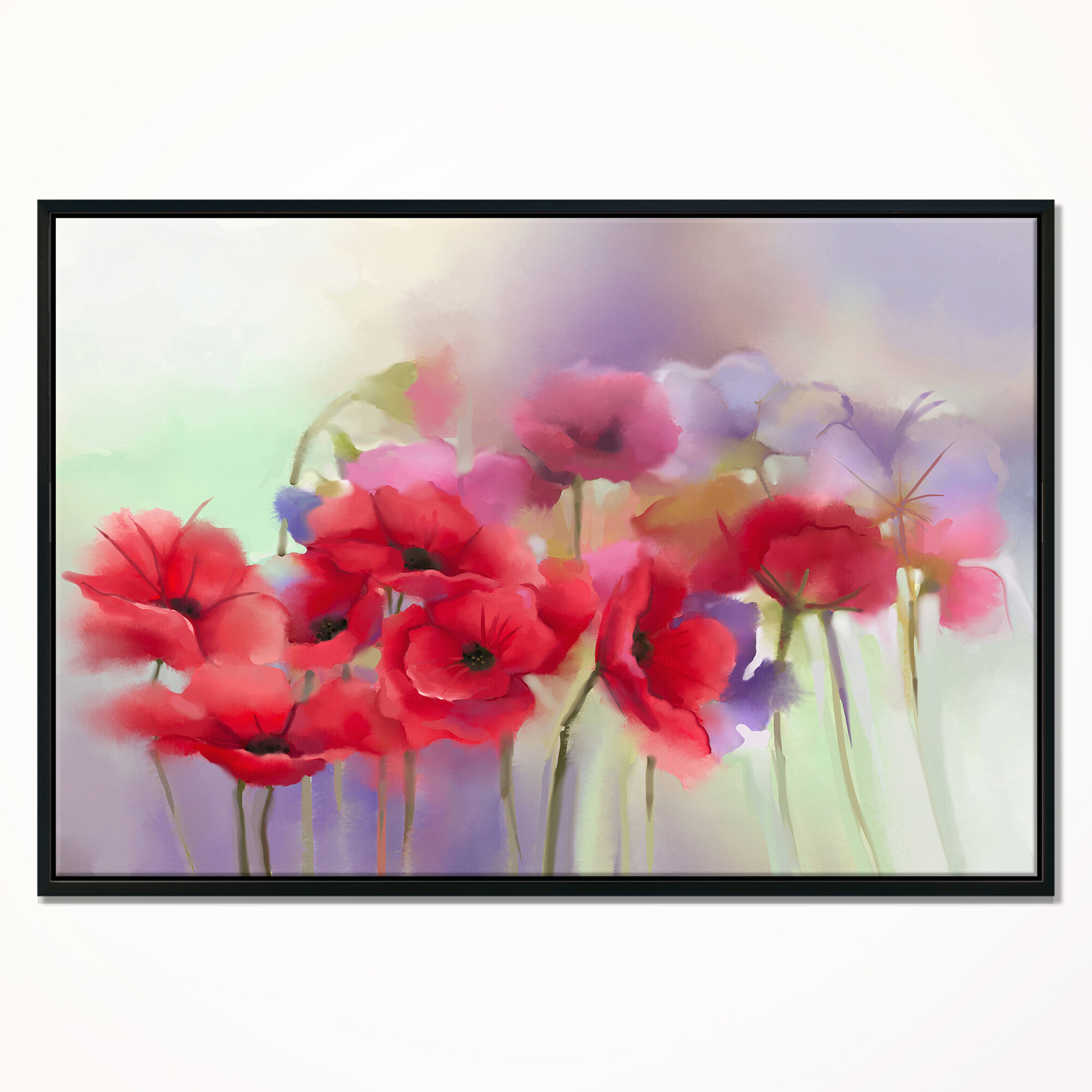 East Urban Home Red Poppy Flowers Painting Framed Watercolor
