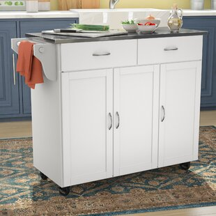 Garrettsville Kitchen Cart with Stainless Steel Top