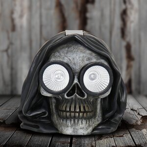 Solar Hooded Skull Lighted Display