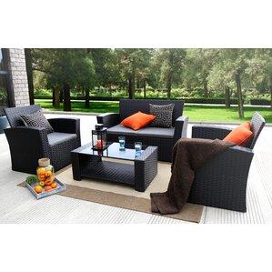 Reordan 4 Pieces Outdoor Furniture Complete Patio Cushion Wicker Rattan  Garden Sofa Setl
