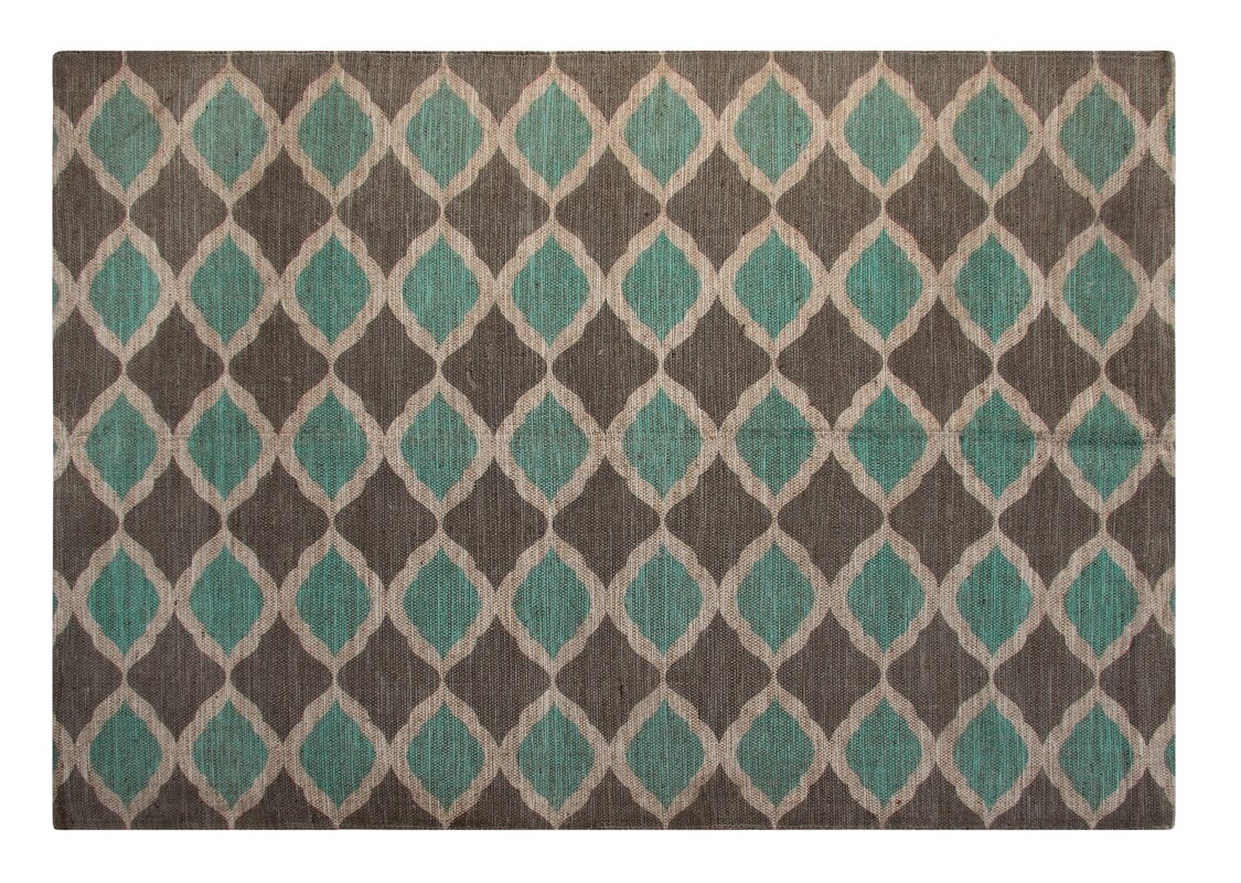 Printed Turquoise And Taupe Matrix Geometric Area Rug