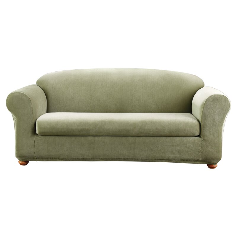 Sofa Slipcover With Separate Cushion Covers: Sure Fit Stretch Madison Box Cushion Sofa Slipcover