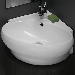 Mini Ceramic 20 Corner Bathroom Sink With Overflow