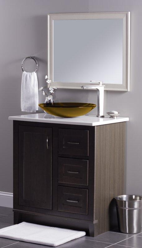 Low Profile Glass Circular Vessel Bathroom Sink