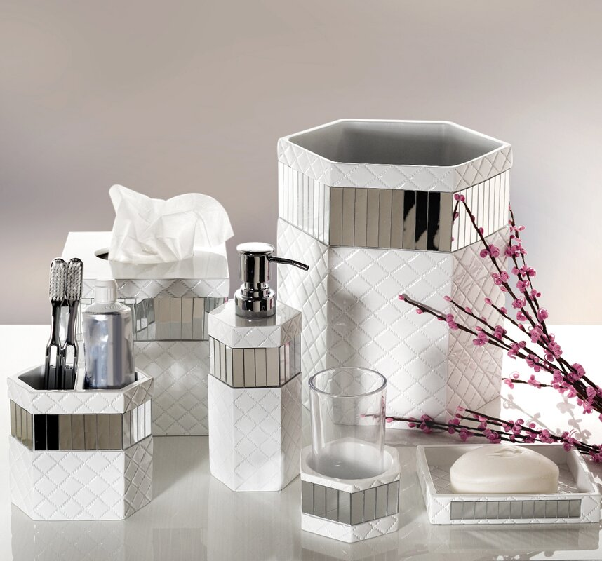 Quilted Mirror 6 Piece Bathroom Accessory Set