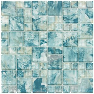 Modular Translucent Random Sized Gl Mosaic Tile In Glossy Blue Turquoise