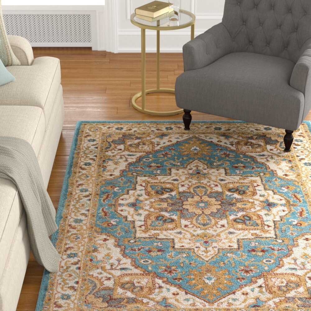 Teal And Gold Area Rug