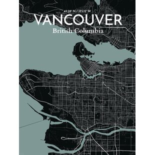 Vancouver wall art youll love wayfair vancouver city map graphic art print poster in midnight gumiabroncs Image collections