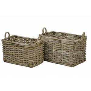 2-tlg. Korb-Set aus Rattan von Castleton Home