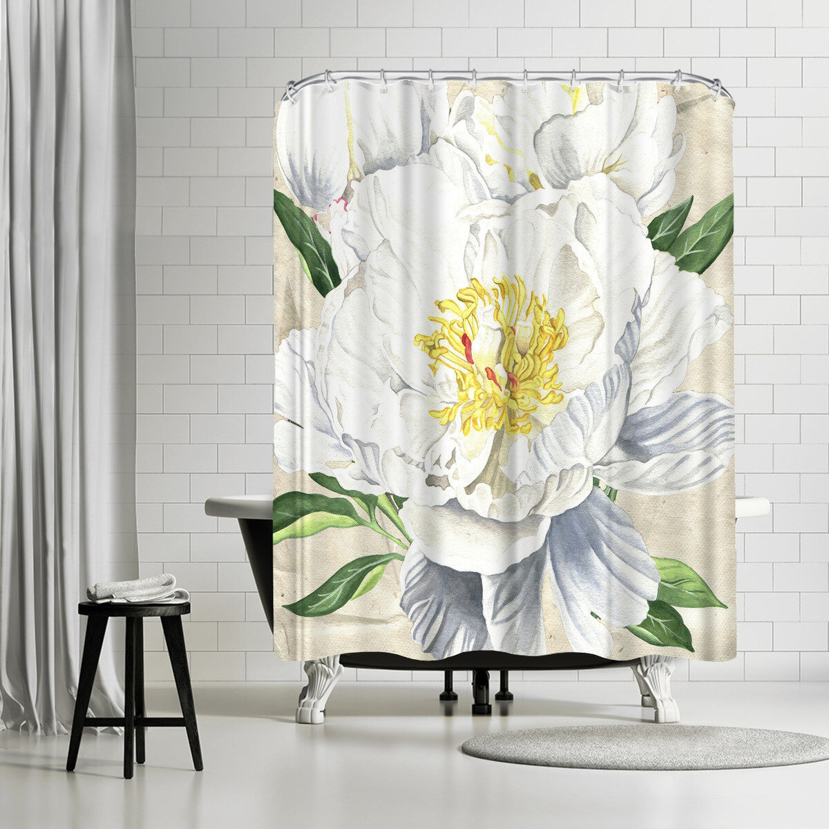 East Urban Home Elizabeth Hellman White Peony Shower Curtain
