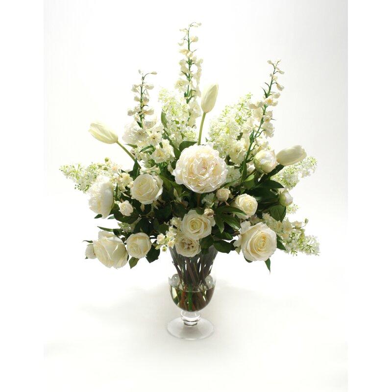 Distinctive Designs Waterlook Silk Floral Mix In Footed Glass Vase