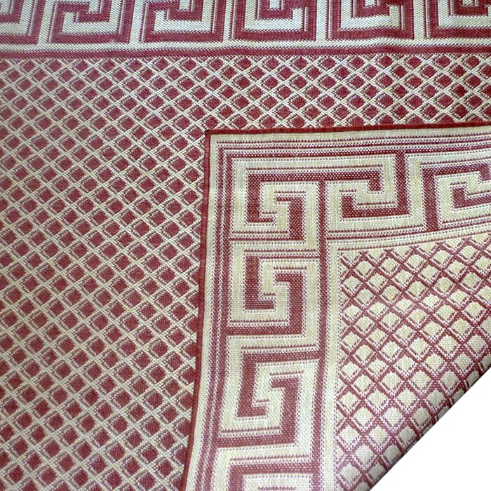 Geo Crafts Greek Key Burgundy/Cream Geometric Indoor/Outdoor Area ...