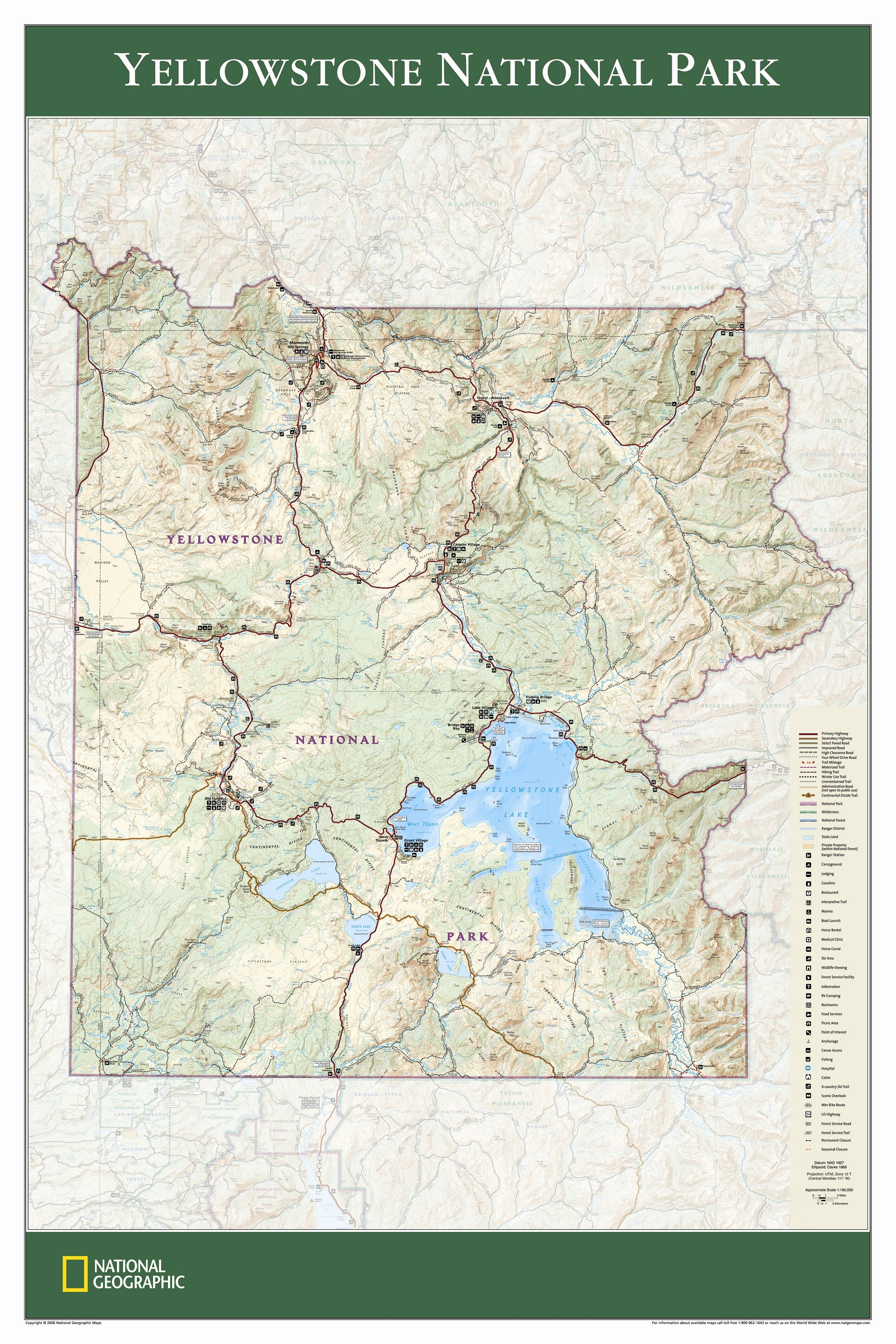 Yellowstone National Park Wall Map