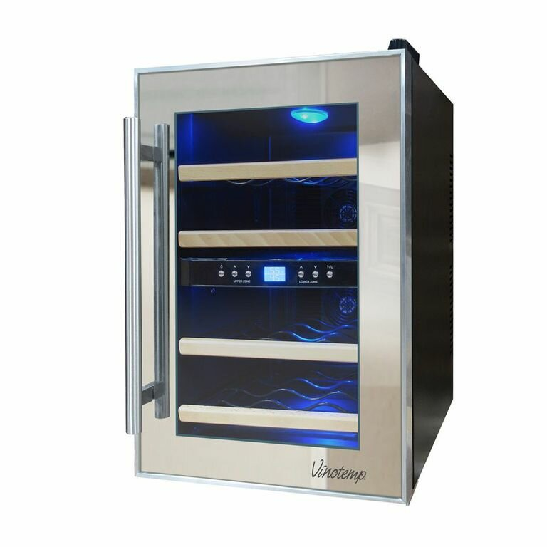 Vinotemp 12 Bottle Dual Zone Freestanding Wine Cooler & Reviews ...