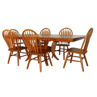 Newberry Shape Top 7 Piece Extendable Solid Wood Dining Set