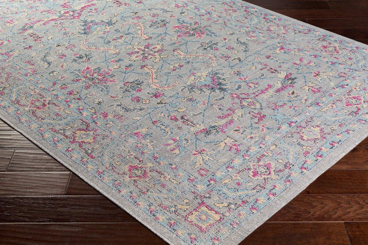 Bungalow Rose Randhir Floral Gray/Pink Area Rug & Reviews ...