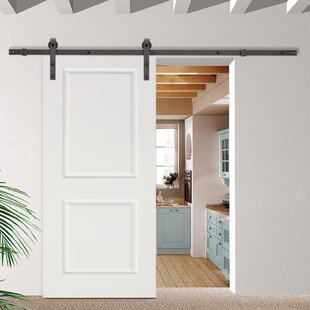 Paneled Manufactured Wood Primed Classic Bent Strap Barn Door with Installation Hardware Kit : barn doors interior - zebratimes.com