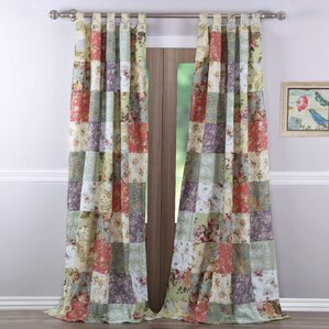 Bauer Patchwork Sheer Tab Top Curtain Panels (Set Of 2)