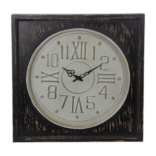 Barnesville White Black Metal And Wood Wall Clock