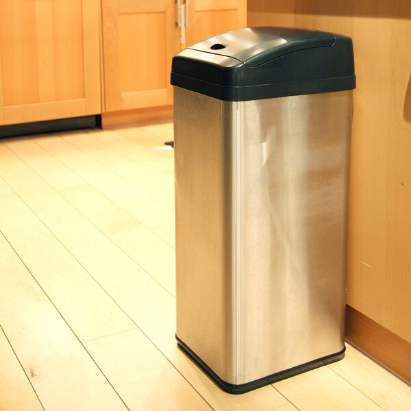 wildon home ® stainless steel 13 gallon motion sensor trash can